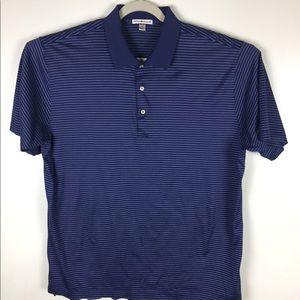 Peter Millar blue striped cotton polo. XXL